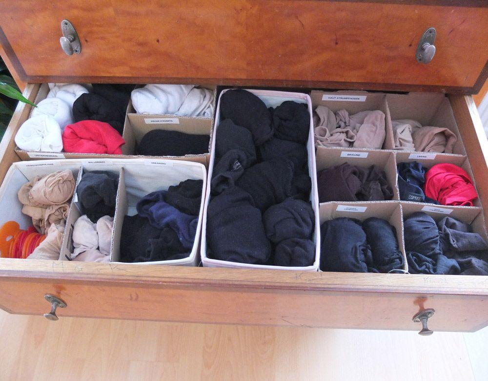 Diy Schubladentrenner Fur Socken Strumpfe Ordnung Fur
