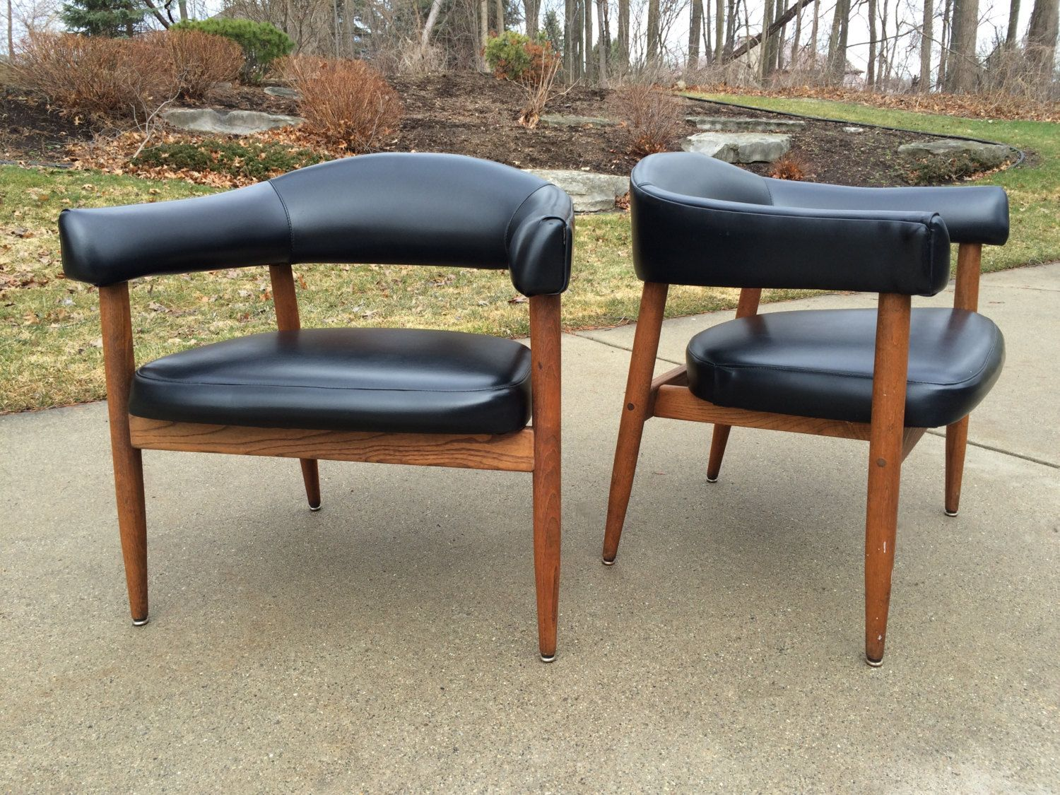 Pair Danish Modern Office Lobby Chairs Nanna Ditzel Hans Wegner Eames  Umanoff Mad Men Mid Century