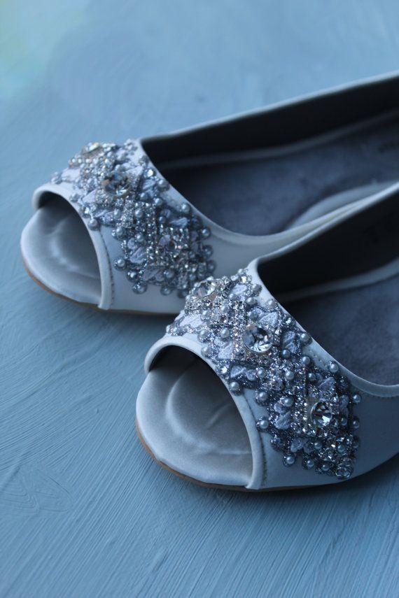 Wedding Shoes Edwardian Inspired Peep Toe Flats Crystal And