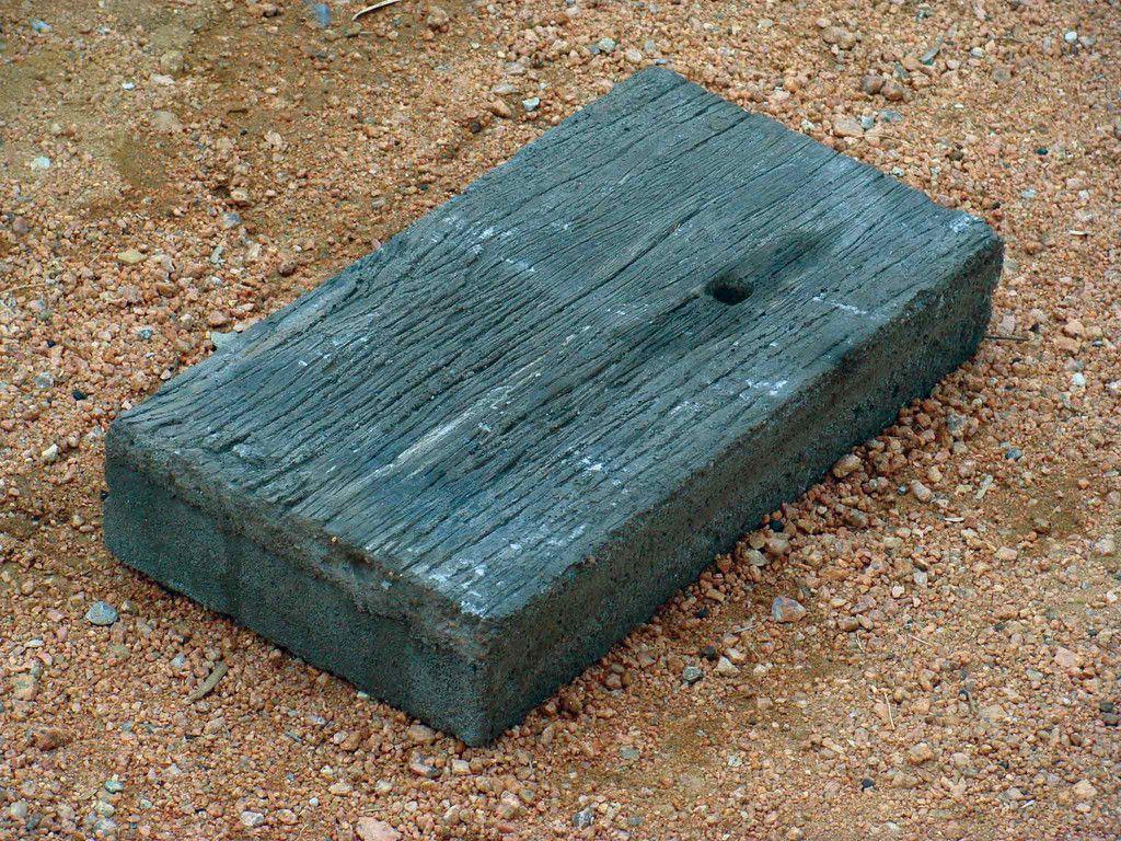 Wood Grain Concrete Pavers Unstained Patio Design