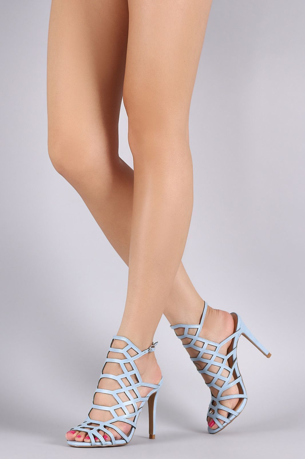 Caged Peep Toe Stiletto Heel