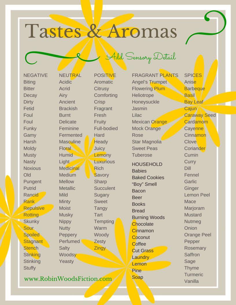 Tastes Aromas Add Sensory Words To Your Writing Www Robinwoodsfiction Com Sensory Details Sensory Words Words