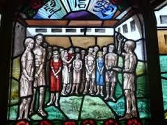 Stained glass window, chapel St Stephen's College, Stanley, remembering the internees