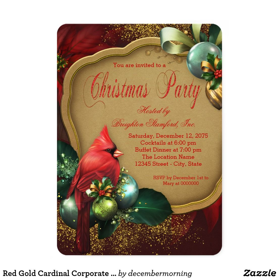 Red Gold Cardinal Corporate Christmas Party Card | Party invitations