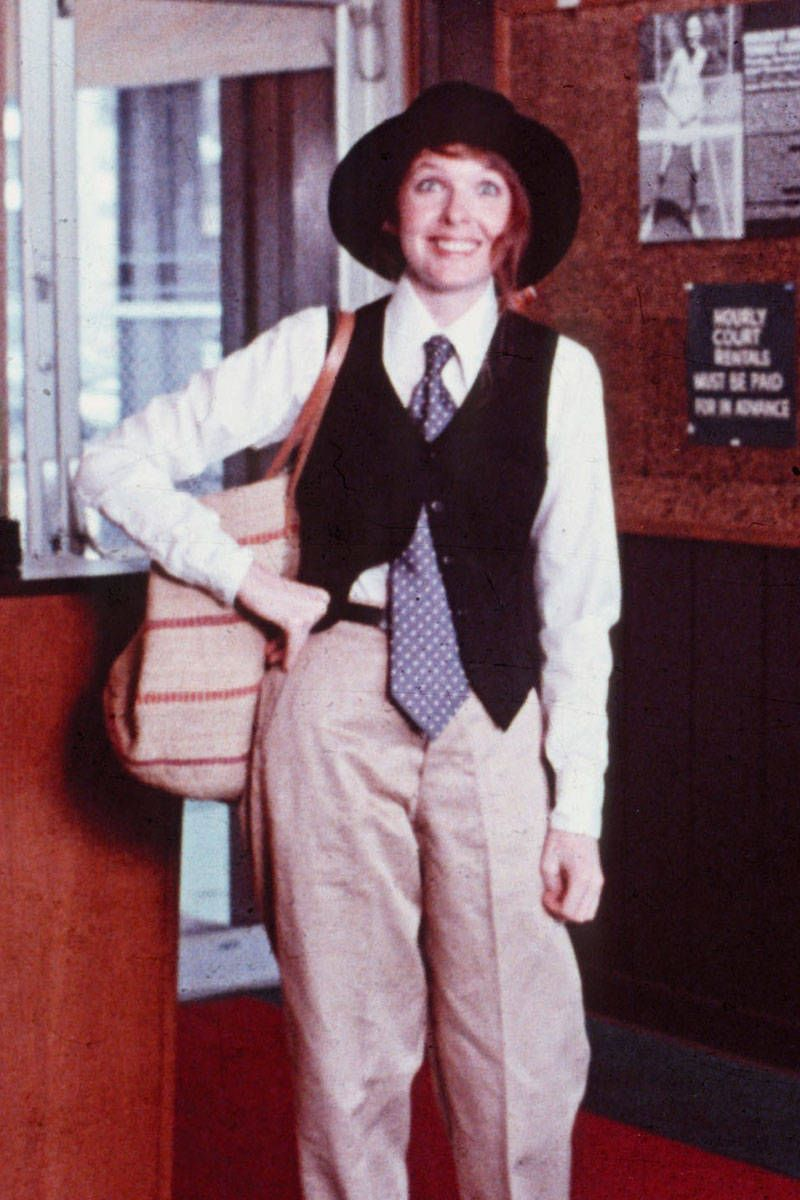 Wide Leg Khakis + Your Boyfriend's Tie + Vest + Wide Brim Hat = Annie Hall
