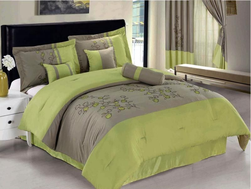 Lime Green Gray Flowers Bedding Queen Size Spring Flower Comforter Set Bed In A Bag Queen Lime Green Casual Bedroom Decor Green Comforter Comforter Sets