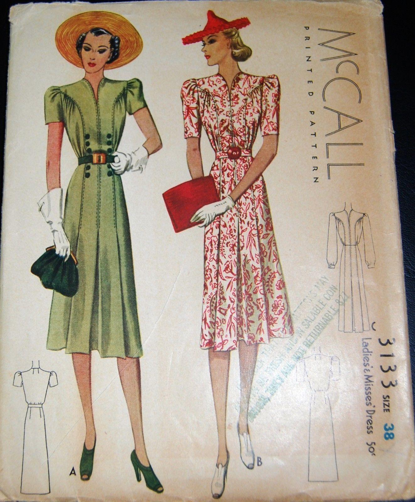 Vintage Original McCall 30\'s Dress Pattern No. 3133 | eBay | 30s 40s ...