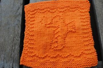 Knit Cotton Dishcloth/ Washcloth Orange Seahorse Reusable by KnitsByRebecca for $6.00