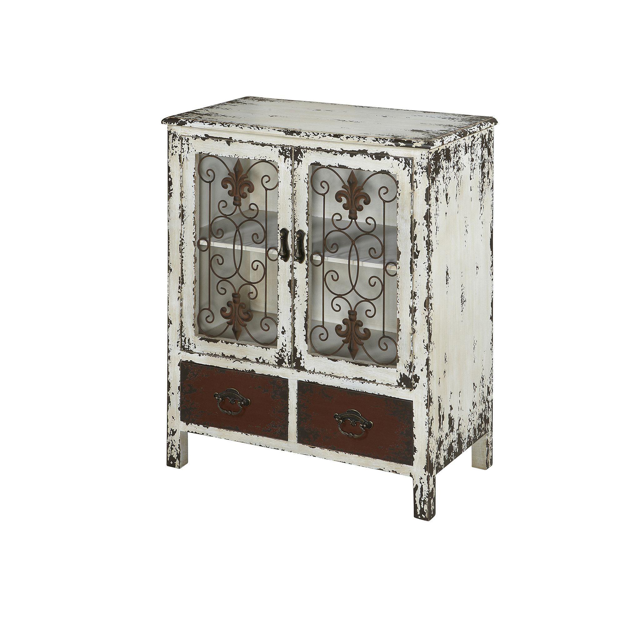 Parcel 2 Drawer Distressed Floor Cabinet White
