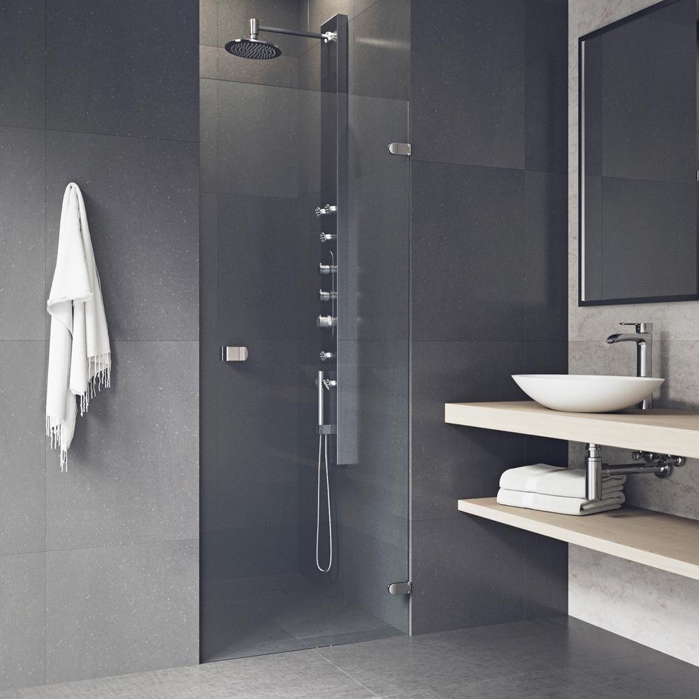 Vigo Tempo 26 5 In X 70 625 In Frameless Pivot Shower Door In