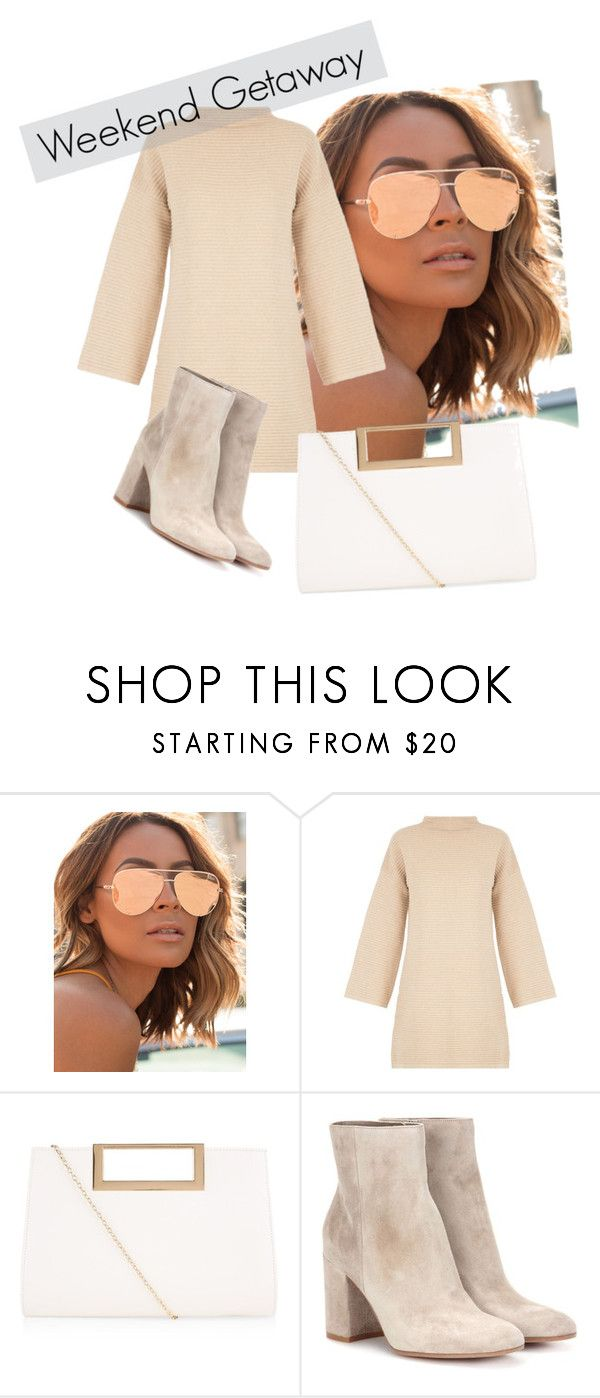 """""""50 shades of beige"""" by polyvoregirl893 ❤ liked on Polyvore featuring Quay, MINKPINK, New Look and Gianvito Rossi"""