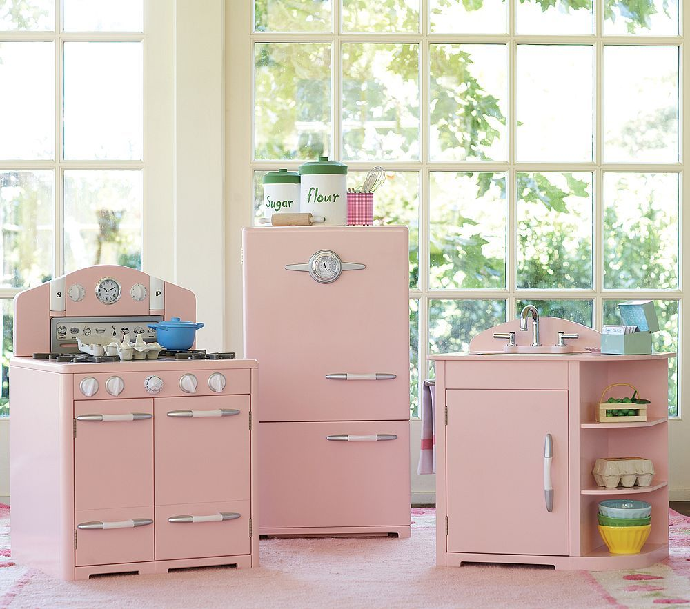 A retro pink kitchen at pottery barnu too bad itus for kids