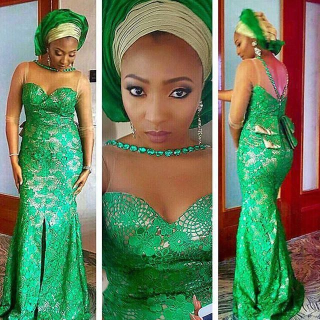 Nigerian Styles Lace Formal Dress See Through Sleeves Long Length ...