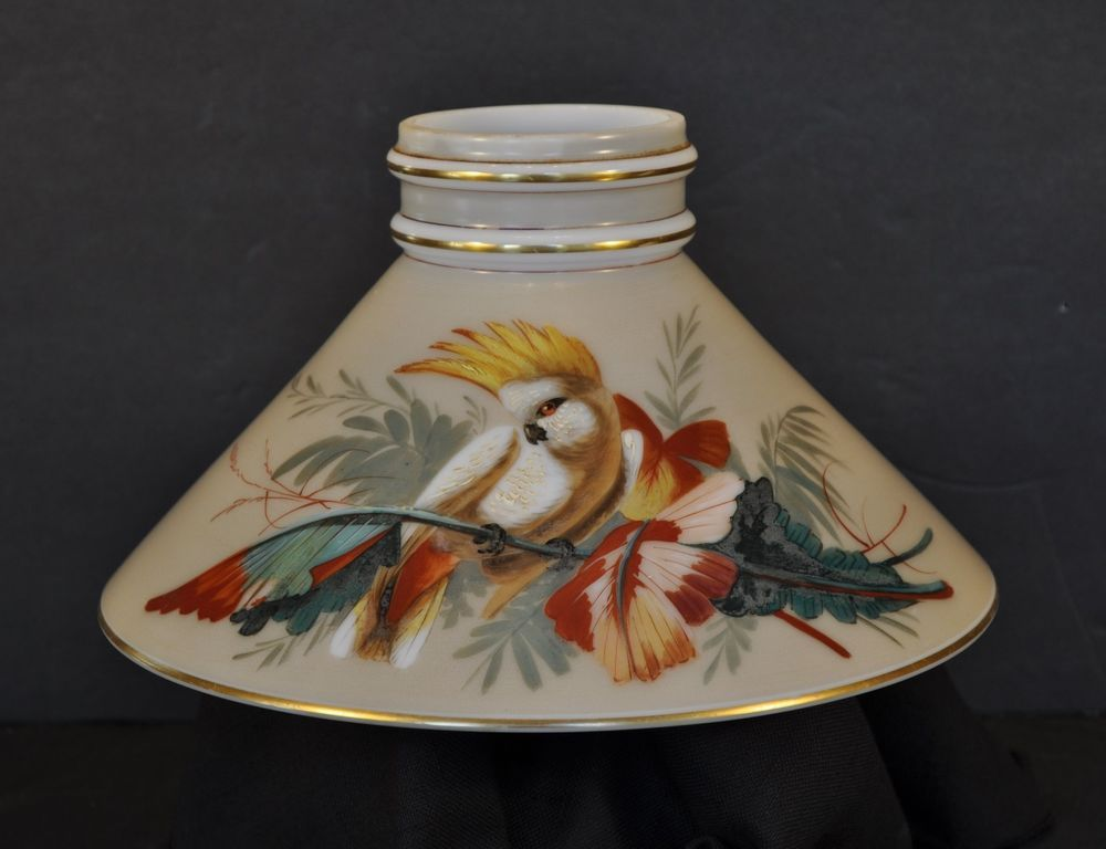 1870s boston sandwich double ring cone shade with cockatoo bird oil 1870s boston sandwich double ring cone shade with cockatoo bird oil lamp shade mozeypictures Choice Image