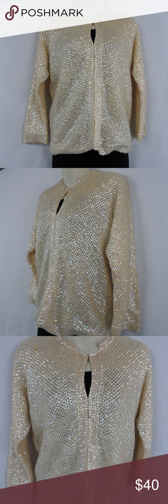 50s/60s Sequin Cardigan Sweater   Sequins, Ivory and Fall wedding ...