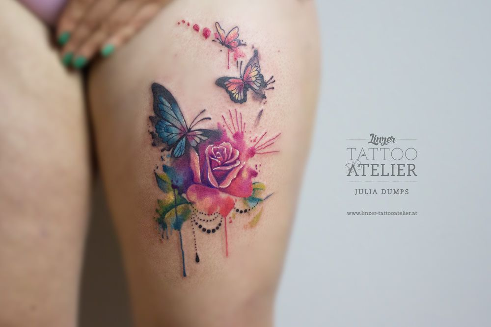 rosen schmetterling aquarell tattoo tattoo. Black Bedroom Furniture Sets. Home Design Ideas