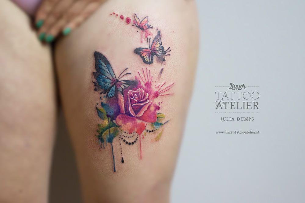 rosen schmetterling aquarell tattoo tattoo. Black Bedroom Furniture Sets. Home Design Ideas