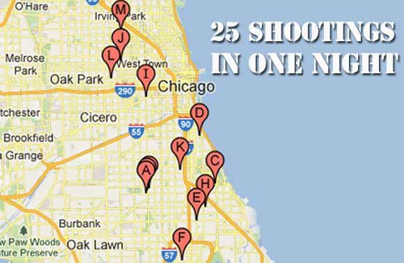 25 People Shot in One Night in Chicago Chicago Crime rate and