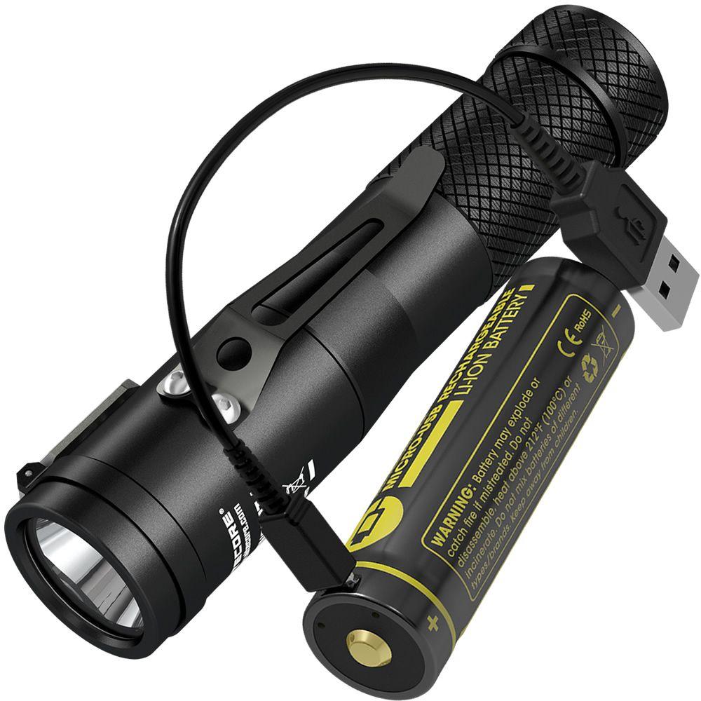 NITECORE C1 1800 Lumens CREE XHP35 HD E2 LED Flashlight+Rechargeable ...