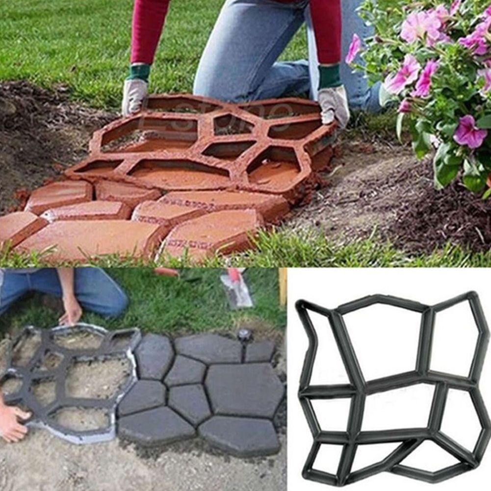Black patio driveway concrete stepping stone path maker