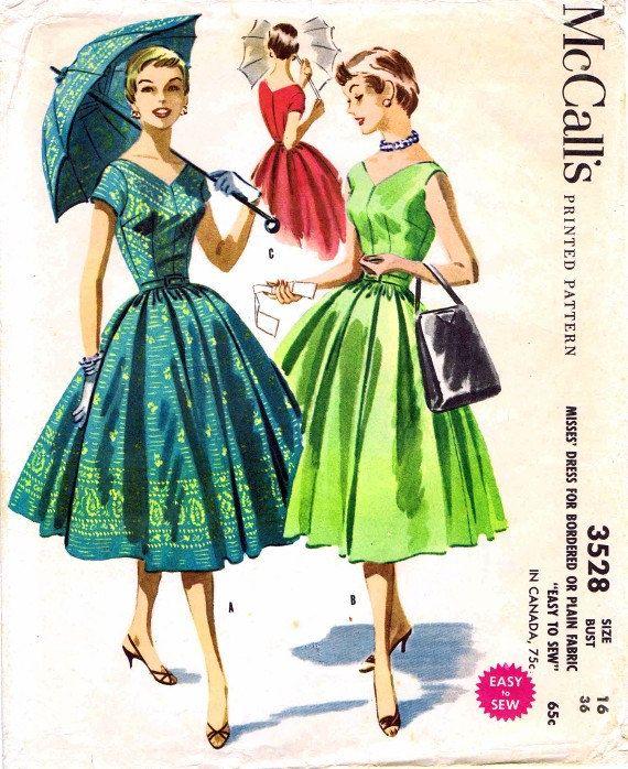 McCall's 3528 Womens 1950's VNeck Full Skirt Dress by patternshop, $24.99