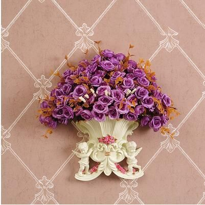 Photo of European Resin Angel Wall Vase Ancient Wall Fake Flower Pot Mural Crafts Decoration Home LIvingroom Wall Sticker Basket Ornament – style9-with flower