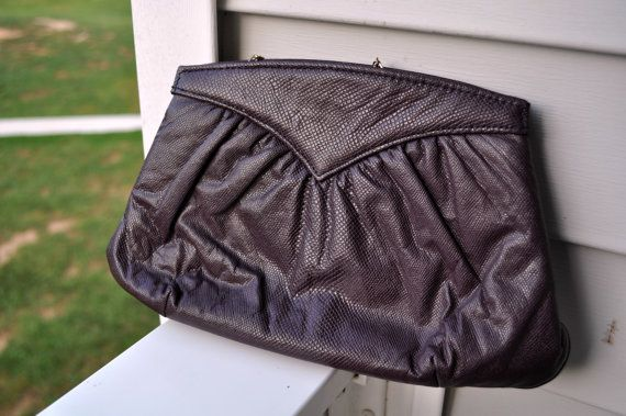 Excellent Condition  Classic Vintage Chic Clutch, Embossed Shiny Dark Purple $8.00    From NotJustOldVintage on etsy