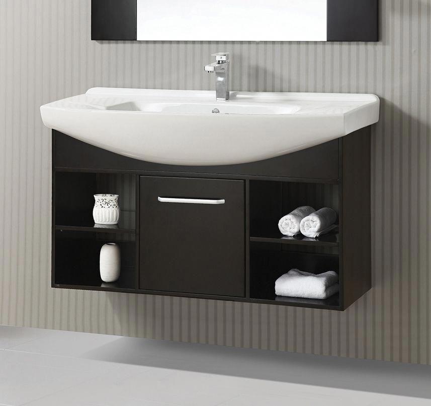 48 In Single Vanity In Coffee Oak Finish Floating Bathroom