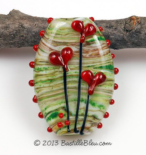 Love Grows Focal Handmade Lampwork Glass by BastilleBleuLampwork, $30.00