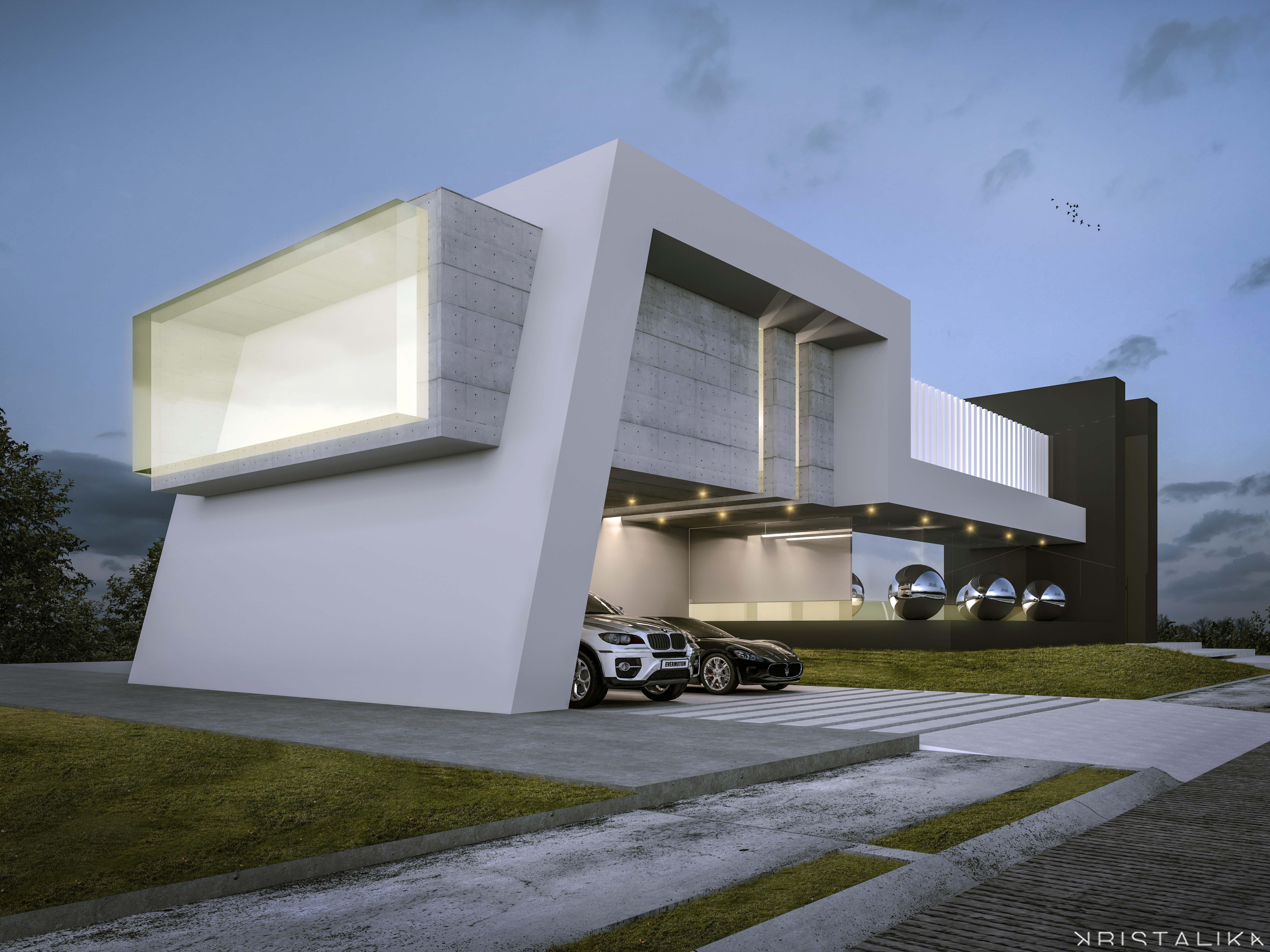 Sensacional cuadrada y minimalista fachadas for Casa minimalista 2018