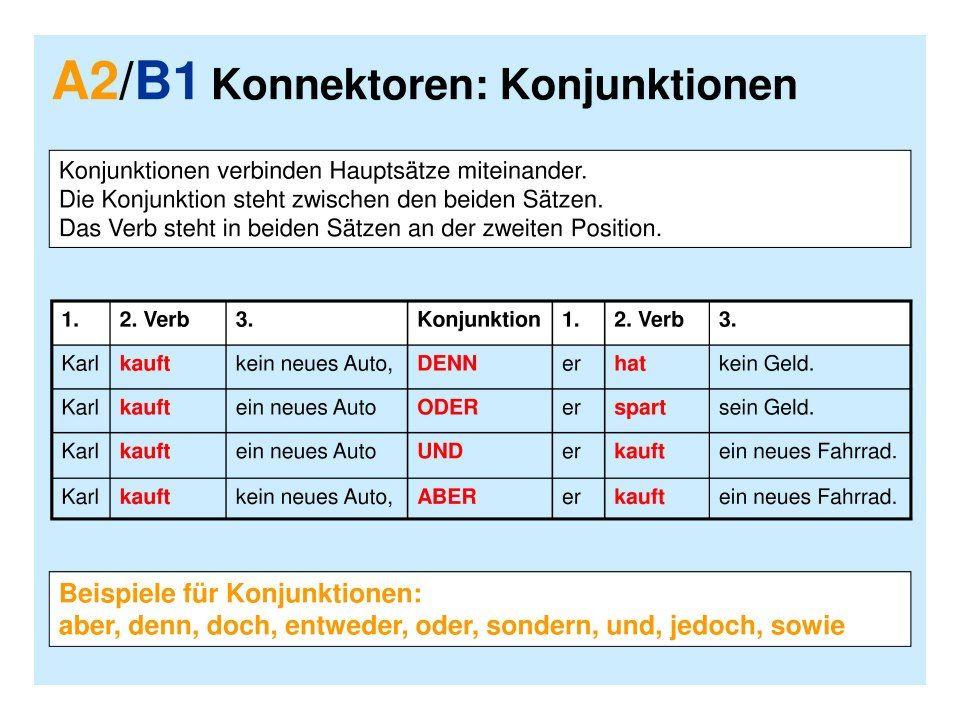 konnektoren language german german grammar deutsch language deutsch. Black Bedroom Furniture Sets. Home Design Ideas