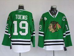 online store 83cd6 67c8f Jonathan Toews #19 NHL Chicago Blackhawks Green Hockey ...