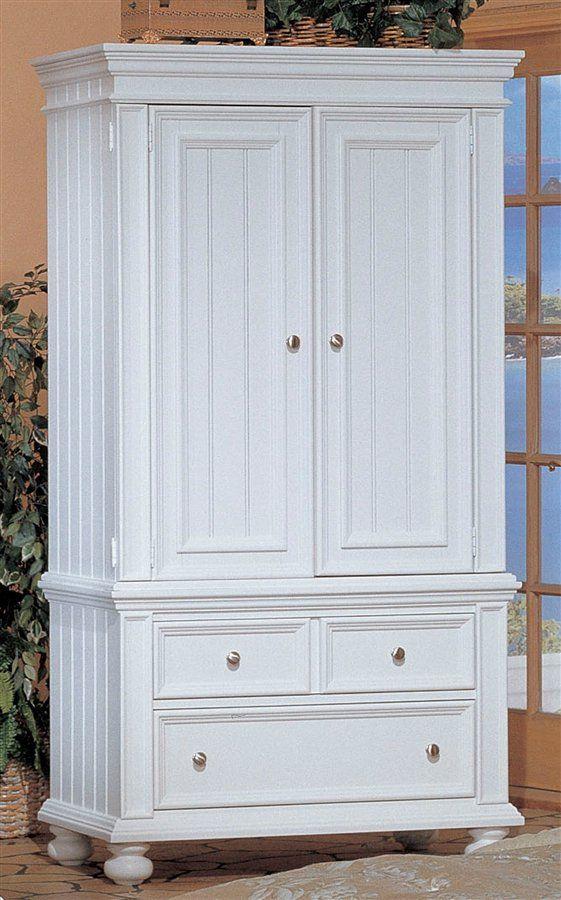 Merveilleux White Cape Cod Cottage Armoire W Clothes Rod U0026 2 Drawers