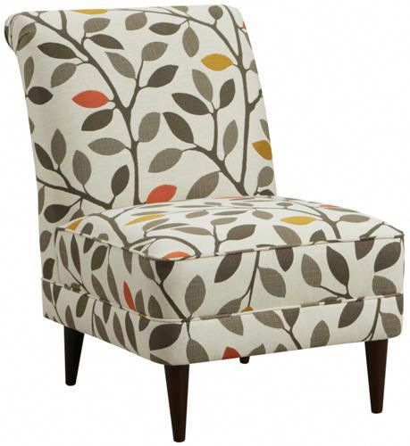 Green Orange Pattern Accent Chair: Detroit Sofa Co: Woodward Armless Accent Chair Features A