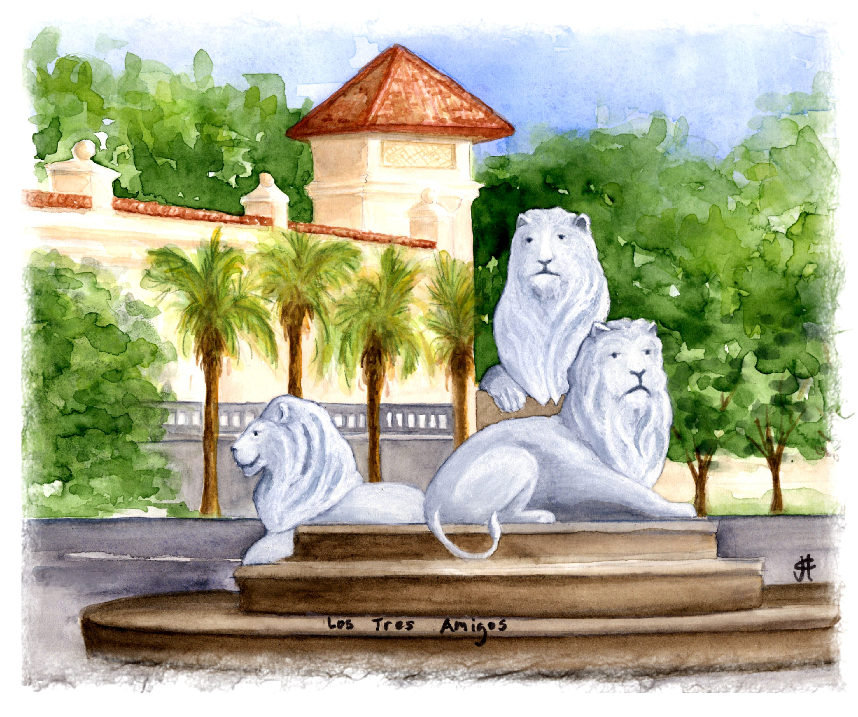 San Marco Lions, JAX FL www.palmartsandphoto.com Watercolor by Julie C. Fetzer
