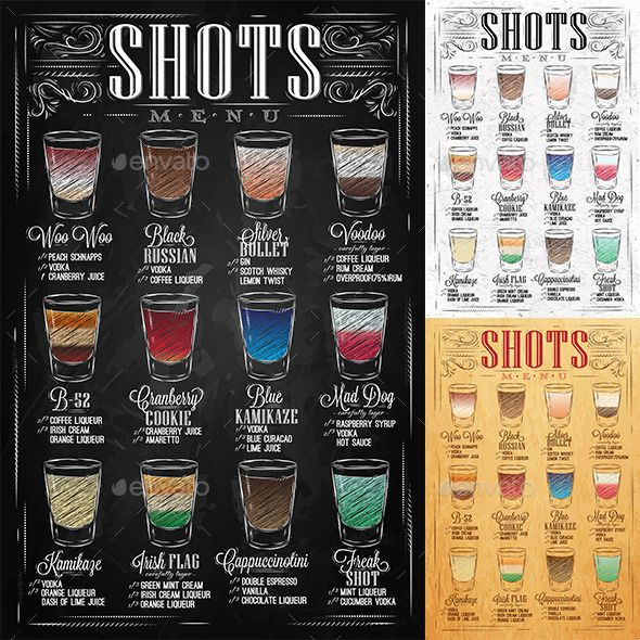 set of shots menu with a shots drinks with names in vintage style