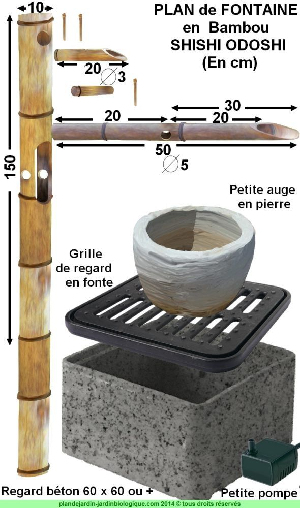 Faire une fontaine en bambou  plan de montage d\u0027un shishi odoshi - Comment Faire Une Dalle De Beton Pour Garage