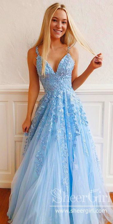 Spaghetti Straps Applique Prom Dress Blue Evening Dress APD3235 #elbiseler