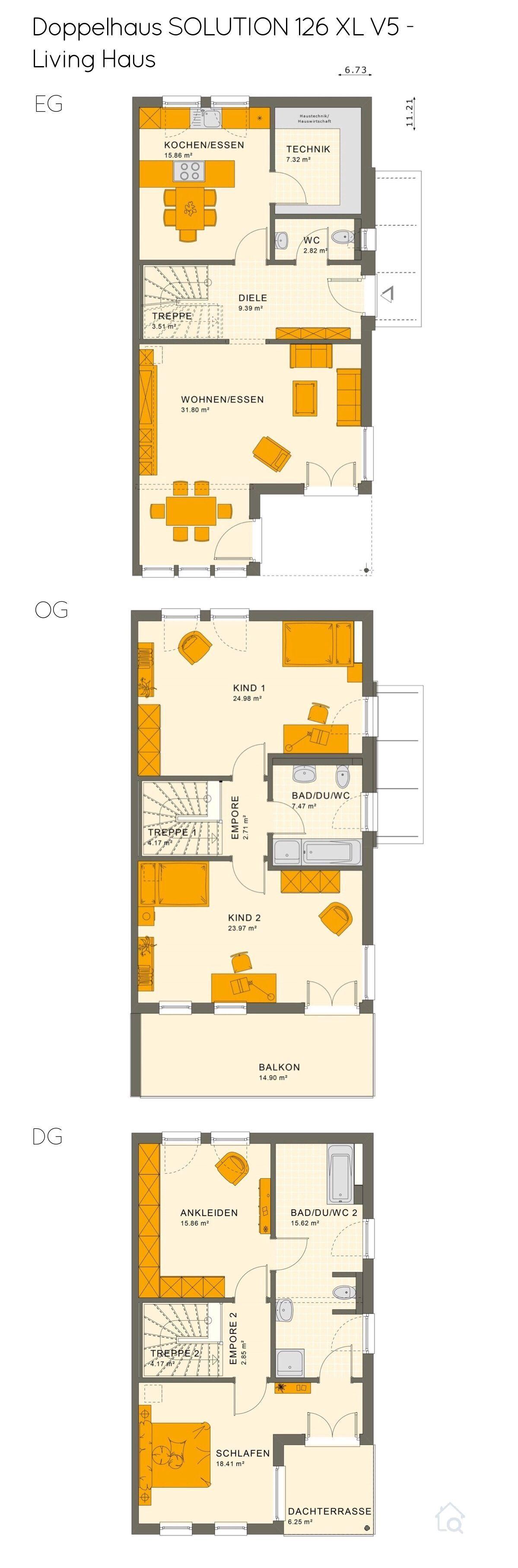 Doppelhaus Grundriss modern mit Flachdach Architektur