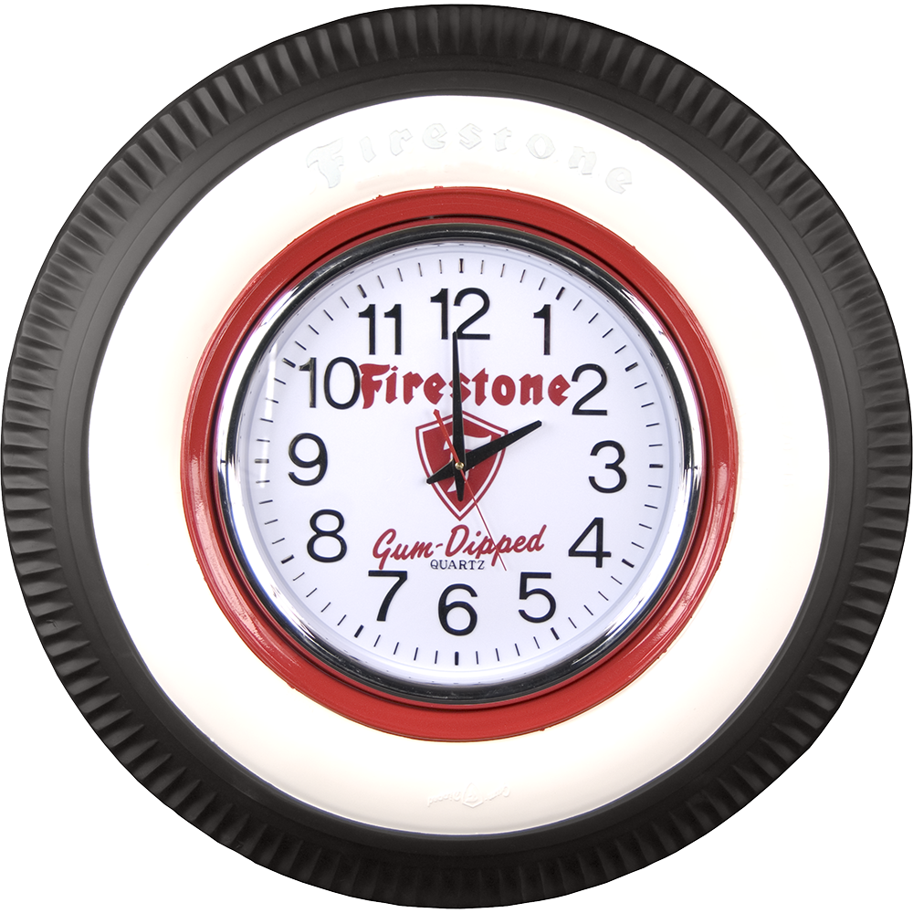 vintage firestone lighted clock coker tire