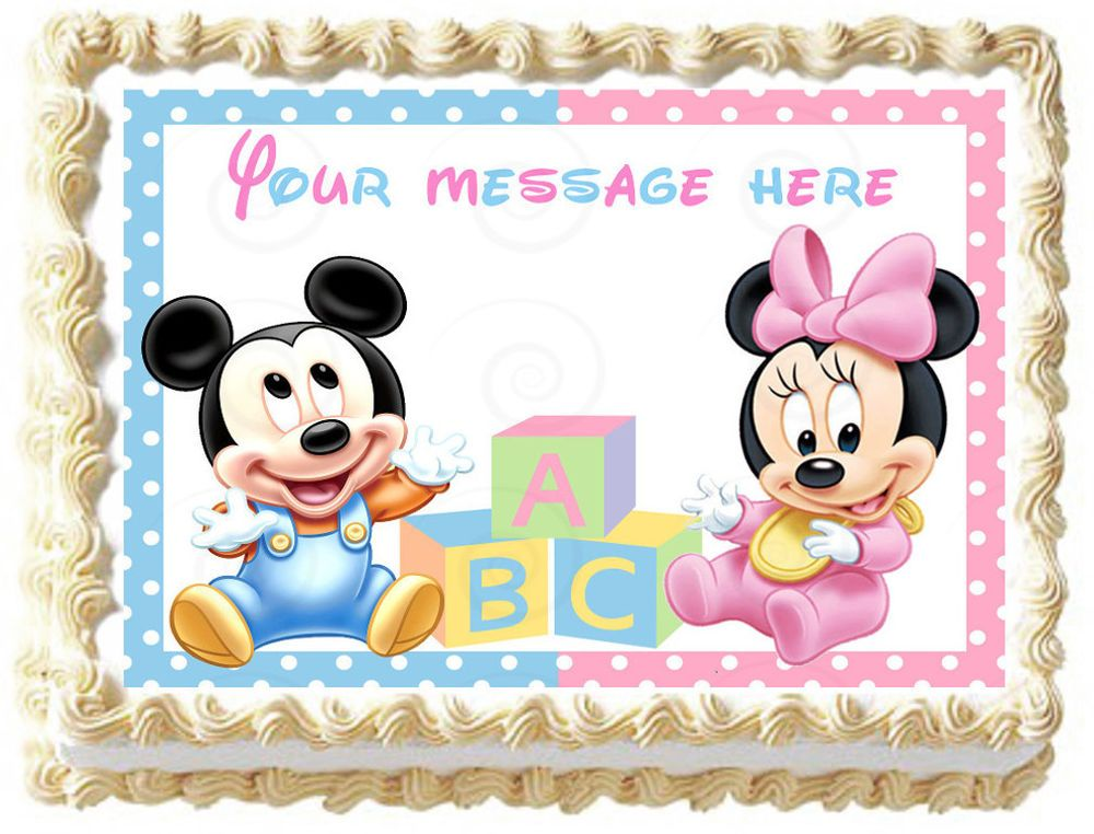Baby Mickey Mouse Minnie Mouse Image Edible Cake Topper Decoration