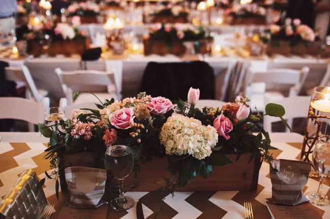 German Wedding Wooden Box Centerpieces
