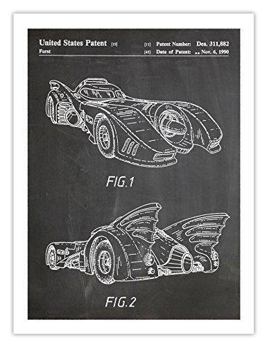 Cool Batman Gifts Car The Batmobile DC Comics Movie Superhero Patent Art Print