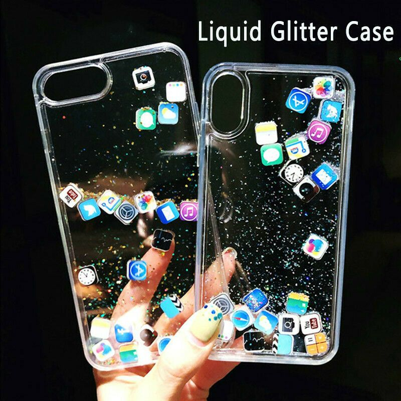 Details about App Icon Moving Glitter Quicksand Case
