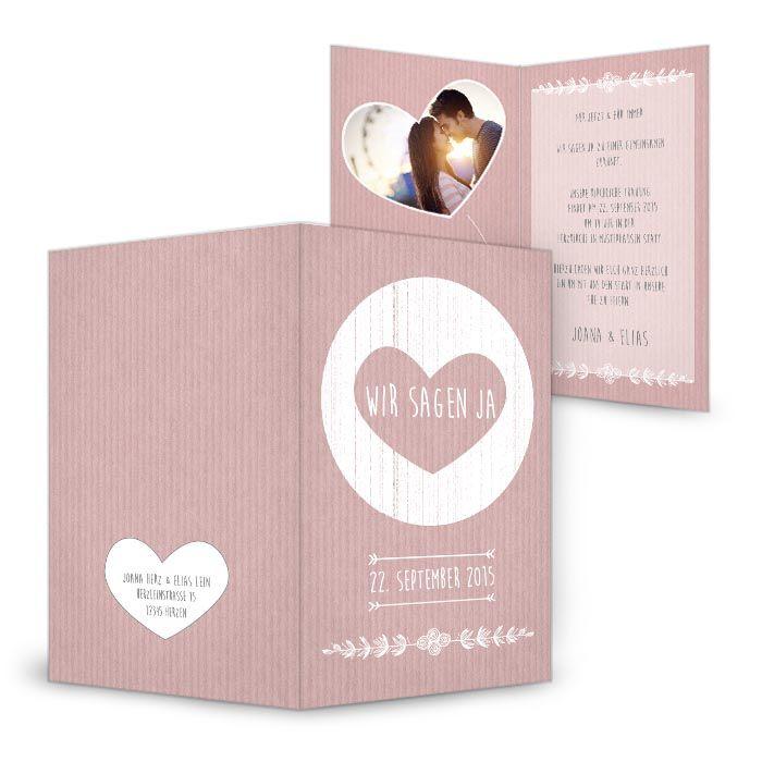 Herzige Hochzeitseinladungskarte In Altrosa Packpapier Der Serie