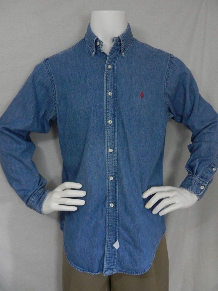 24cfa42e Polo Ralph Lauren Denim Shirt Mens M Blue Jean Western Cowboy Rockabilly USA  #PoloRalphLauren #ButtonFront