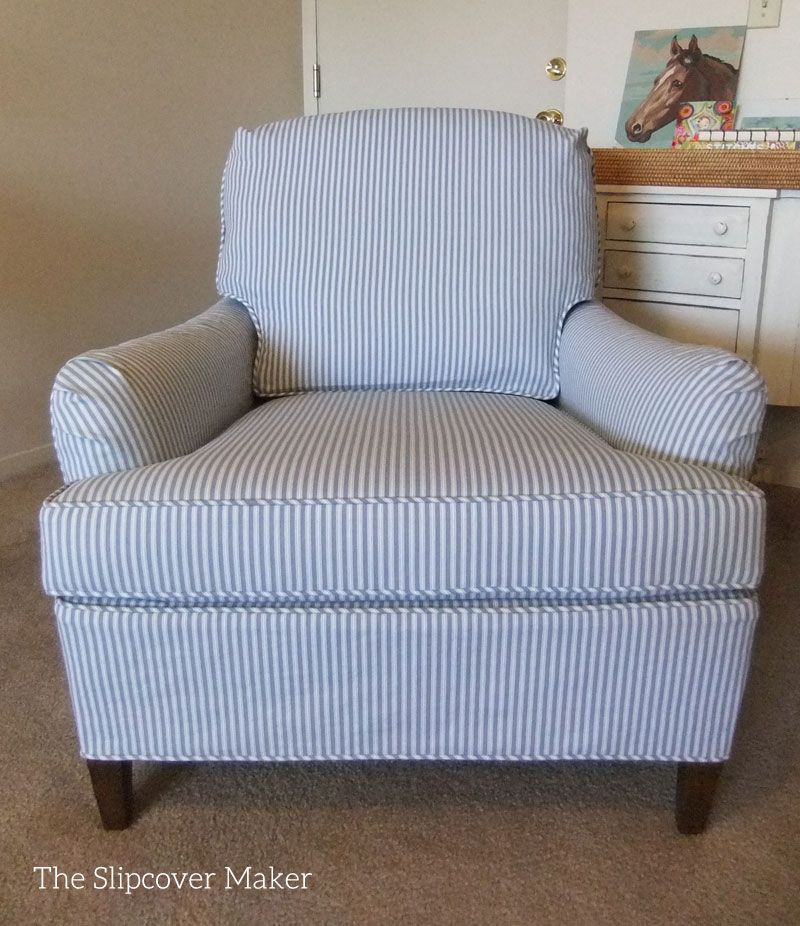 Ticking stripe slipcover tailored to fit an old Drexel armchair.