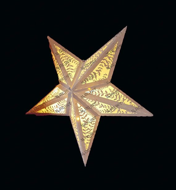 3d Folding Star Lantern With Leaf Design Template Etsy Paper Star Lanterns Paper Stars Star Lanterns