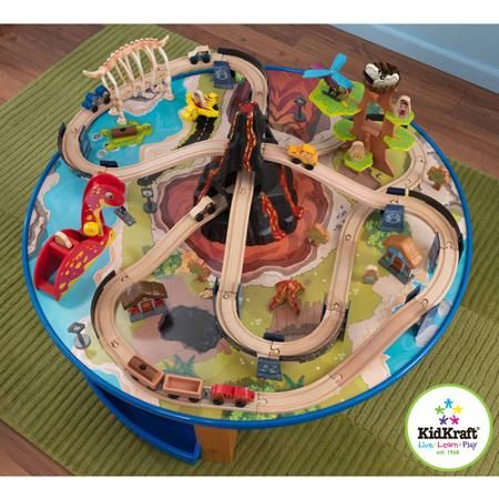 Dinosaur Train Set and Round Table | Wooden Train Set Tables ...
