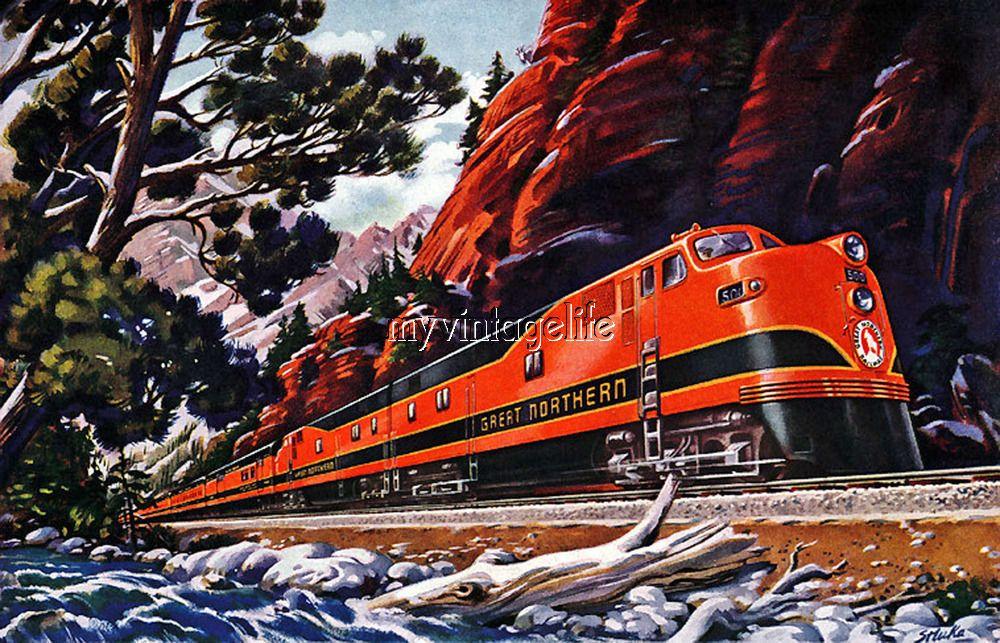 Great Northern Train Railroad Quilting Fabric Block